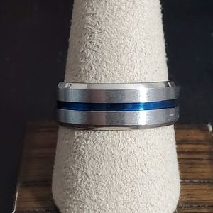 Thin Blue Line Titanium Ring